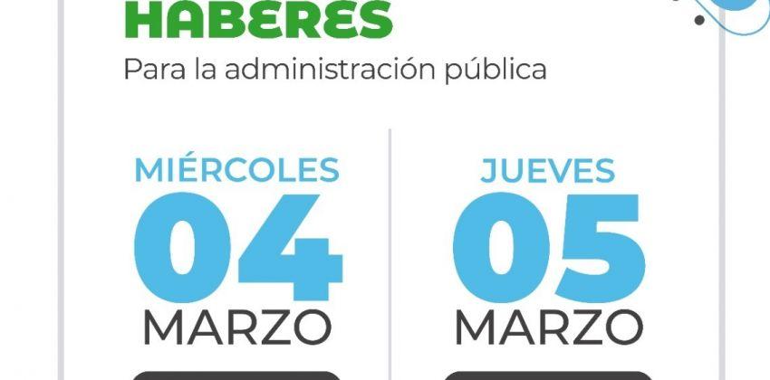 SALARIOS: ESTATALES PERCIBIRÁN SUS HABERES EL 4 Y 5 DE MARZO